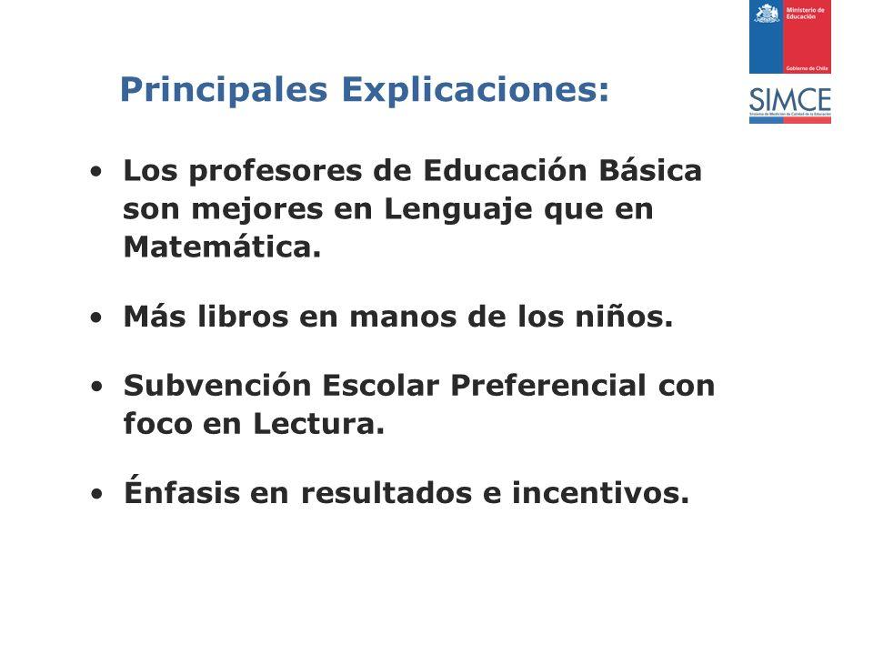Principales Explicaciones: Los profesores de Educación Básica son mejores en Lenguaje que en Matemática.