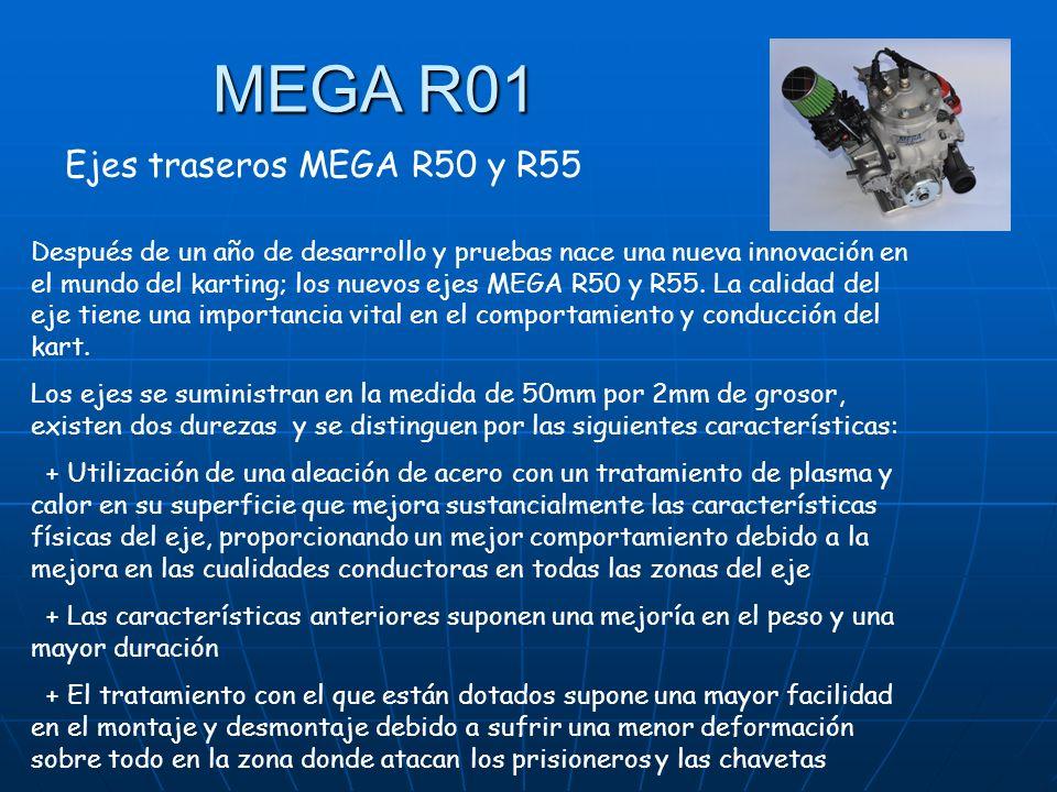 Ejes traseros MEGA R50 y R55 Después de un año de desarrollo y pruebas nace una nueva innovación en el mundo del karting; los nuevos ejes MEGA R50 y R55.