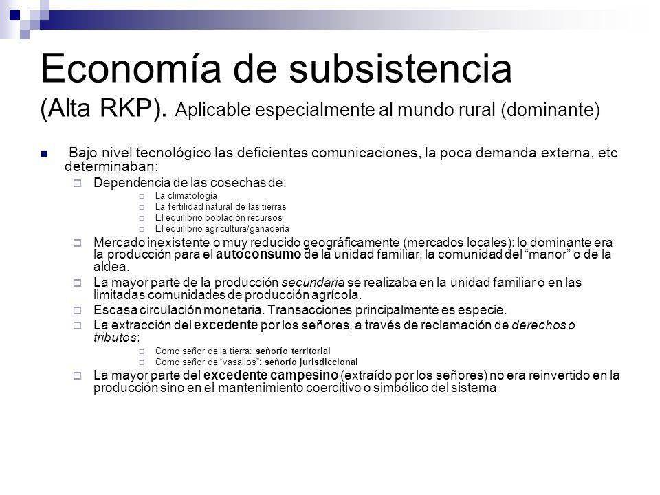 Economía de subsistencia (Alta RKP). Aplicable especialmente al mundo rural (dominante) Bajo nivel tecnológico las deficientes comunicaciones, la poca
