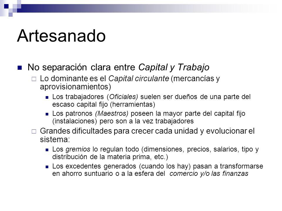 Artesanado No separación clara entre Capital y Trabajo Lo dominante es el Capital circulante (mercancías y aprovisionamientos) Los trabajadores (Ofici
