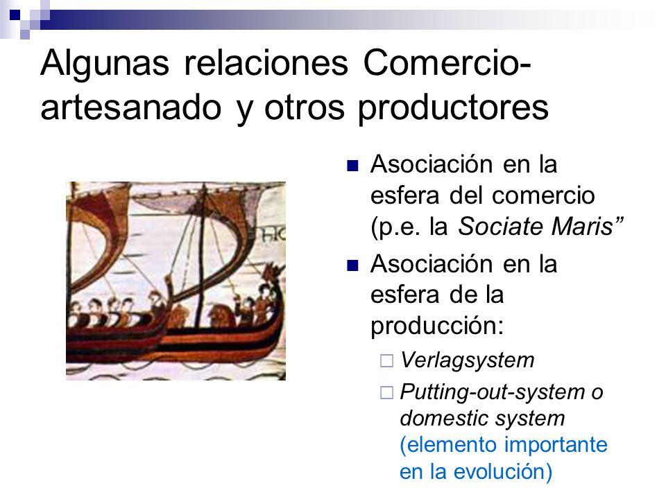 Algunas relaciones Comercio- artesanado y otros productores Asociación en la esfera del comercio (p.e. la Sociate Maris Asociación en la esfera de la