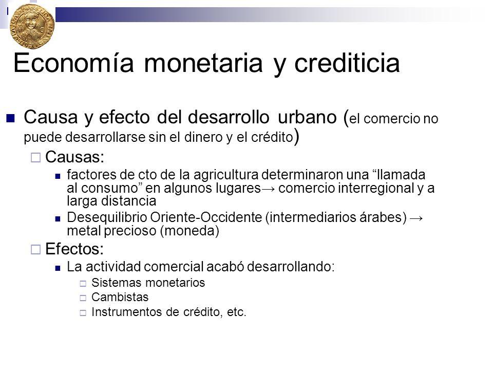 Economía monetaria y crediticia Causa y efecto del desarrollo urbano ( el comercio no puede desarrollarse sin el dinero y el crédito ) Causas: factore