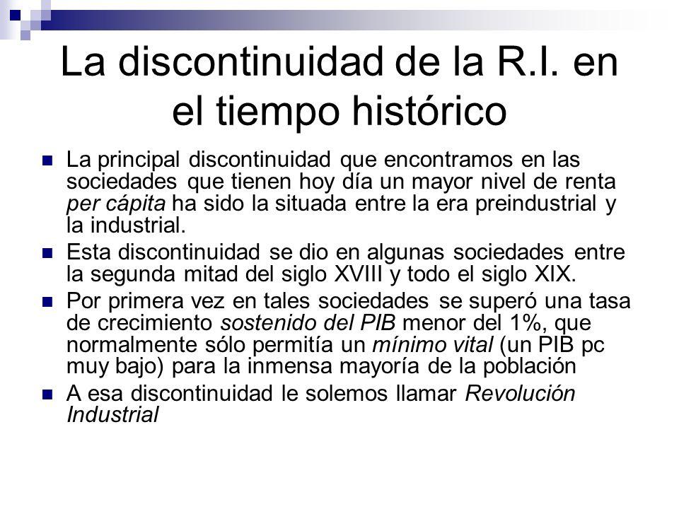 La discontinuidad de la R.I. en el tiempo histórico La principal discontinuidad que encontramos en las sociedades que tienen hoy día un mayor nivel de