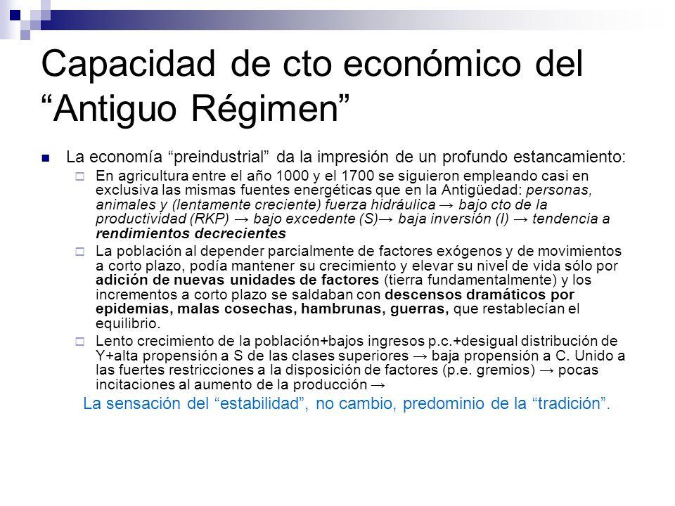 Capacidad de cto económico del Antiguo Régimen La economía preindustrial da la impresión de un profundo estancamiento: En agricultura entre el año 100
