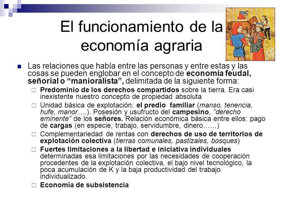 El funcionamiento de la economía agraria Las relaciones que había entre las personas y entre estas y las cosas se pueden englobar en el concepto de ec