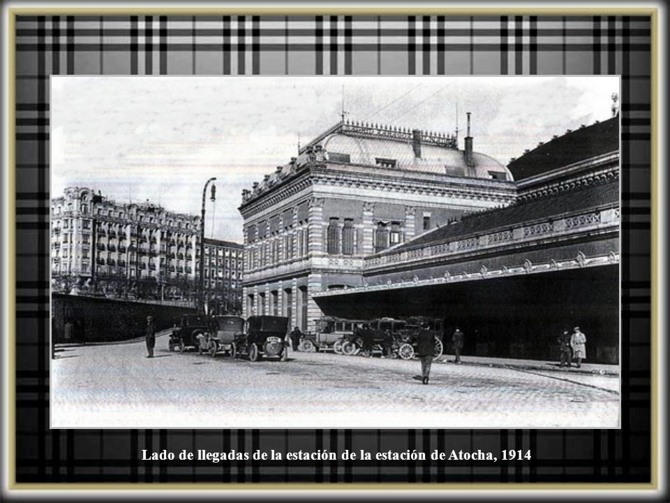 Estación de Atocha engalanada con motivo de la visita de los Reyes de Italia, Junio 1924