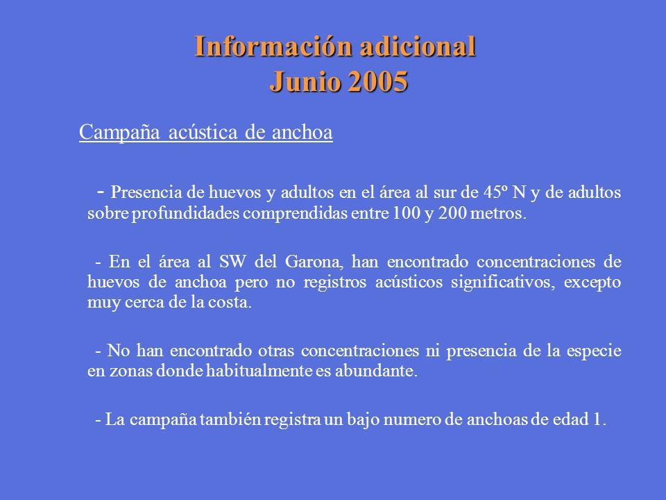Información adicional Junio 2005 Campaña acústica de anchoa - Presencia de huevos y adultos en el área al sur de 45º N y de adultos sobre profundidade