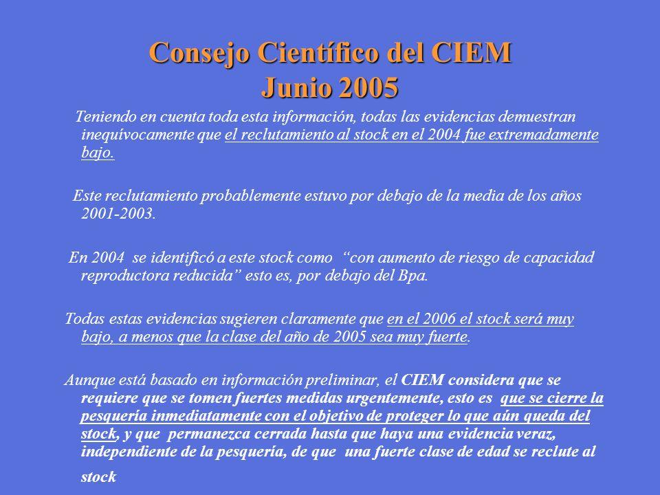 Consejo Científico del CIEM Junio 2005 Teniendo en cuenta toda esta información, todas las evidencias demuestran inequívocamente que el reclutamiento