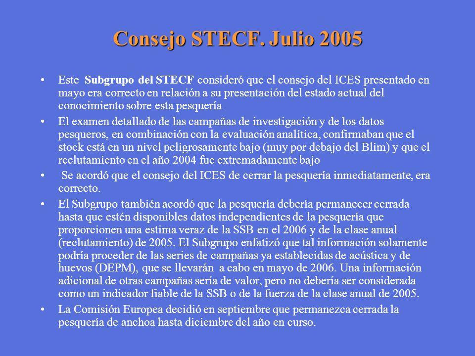 Consejo STECF. Julio 2005 Este Subgrupo del STECF consideró que el consejo del ICES presentado en mayo era correcto en relación a su presentación del
