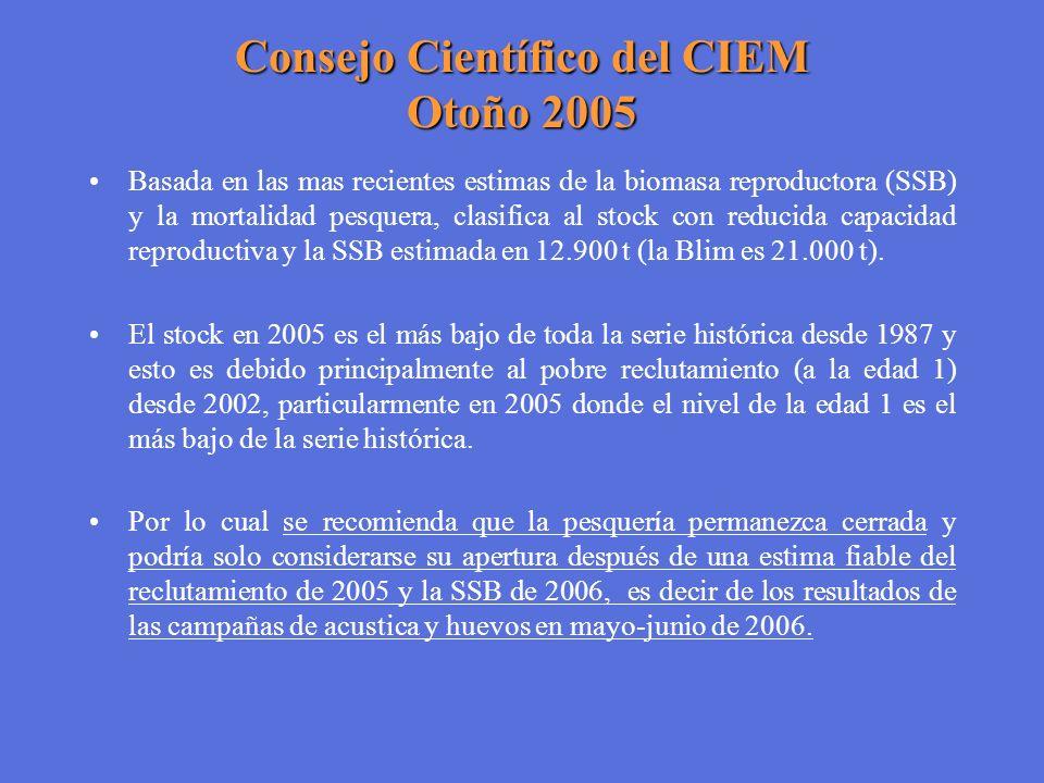 Consejo Científico del CIEM Otoño 2005 Basada en las mas recientes estimas de la biomasa reproductora (SSB) y la mortalidad pesquera, clasifica al sto