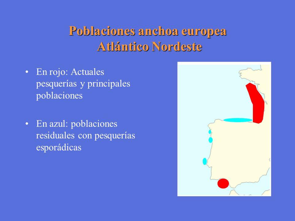 Poblaciones anchoa europea Atlántico Nordeste En rojo: Actuales pesquerías y principales poblaciones En azul: poblaciones residuales con pesquerías es