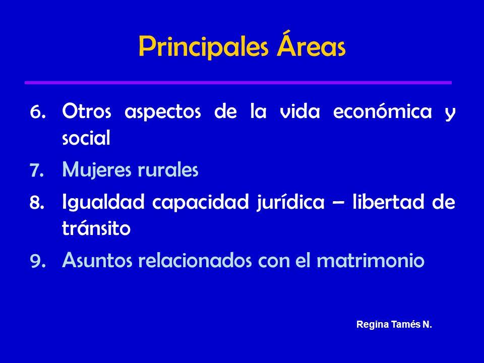 Principales Áreas 6.Otros aspectos de la vida económica y social 7.Mujeres rurales 8.Igualdad capacidad jurídica – libertad de tránsito 9.Asuntos relacionados con el matrimonio Regina Tamés N.