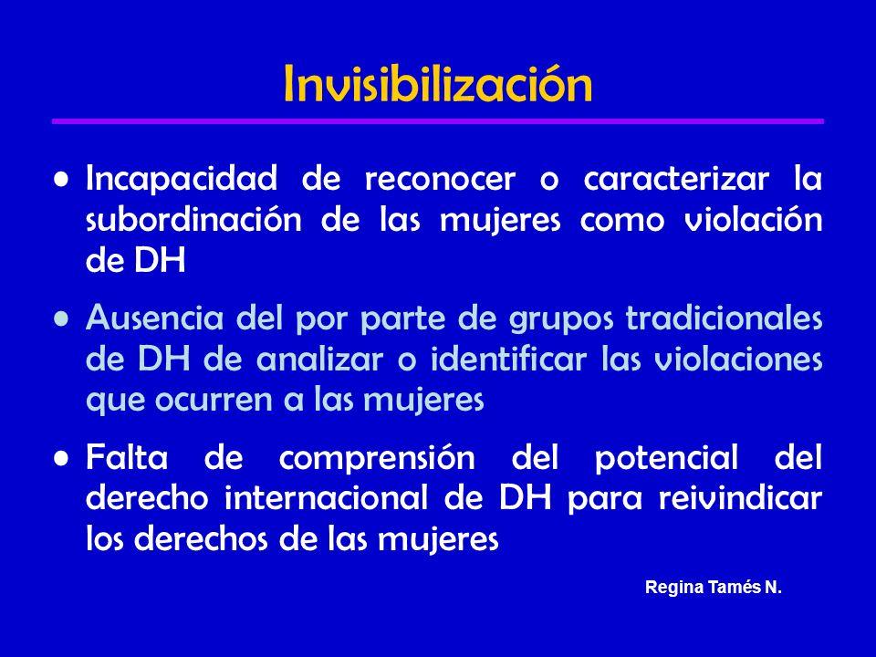 Invisibilización Incapacidad de reconocer o caracterizar la subordinación de las mujeres como violación de DH Ausencia del por parte de grupos tradicionales de DH de analizar o identificar las violaciones que ocurren a las mujeres Falta de comprensión del potencial del derecho internacional de DH para reivindicar los derechos de las mujeres Regina Tamés N.
