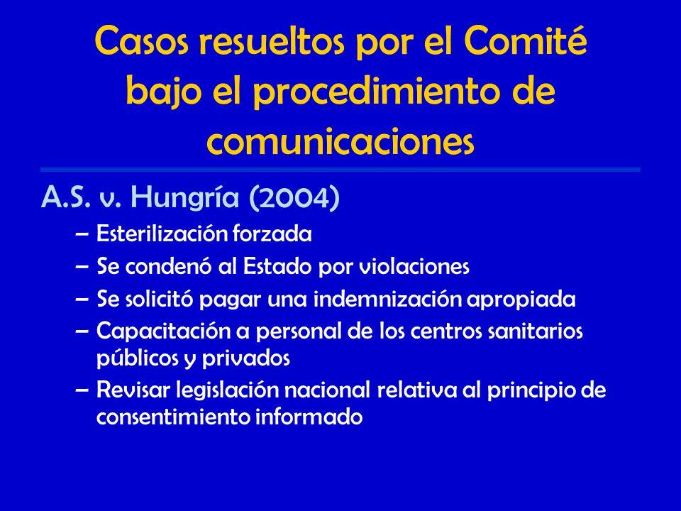 Casos resueltos por el Comité bajo el procedimiento de comunicaciones A.S.