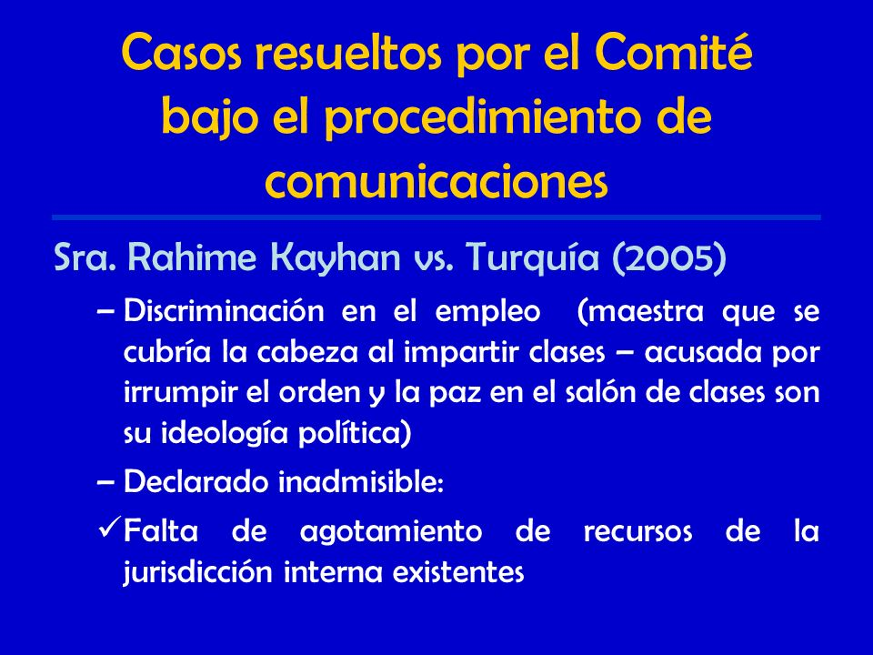 Casos resueltos por el Comité bajo el procedimiento de comunicaciones Sra.