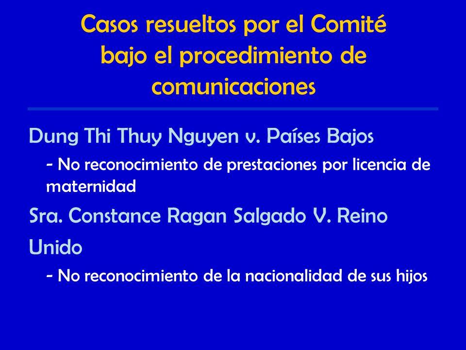 Casos resueltos por el Comité bajo el procedimiento de comunicaciones Dung Thi Thuy Nguyen v.