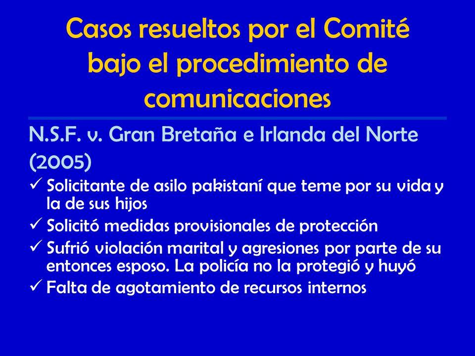Casos resueltos por el Comité bajo el procedimiento de comunicaciones N.S.F.