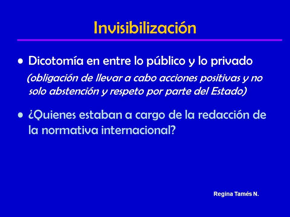 Invisibilización Dicotomía en entre lo público y lo privado (obligación de llevar a cabo acciones positivas y no solo abstención y respeto por parte del Estado) ¿Quienes estaban a cargo de la redacción de la normativa internacional.