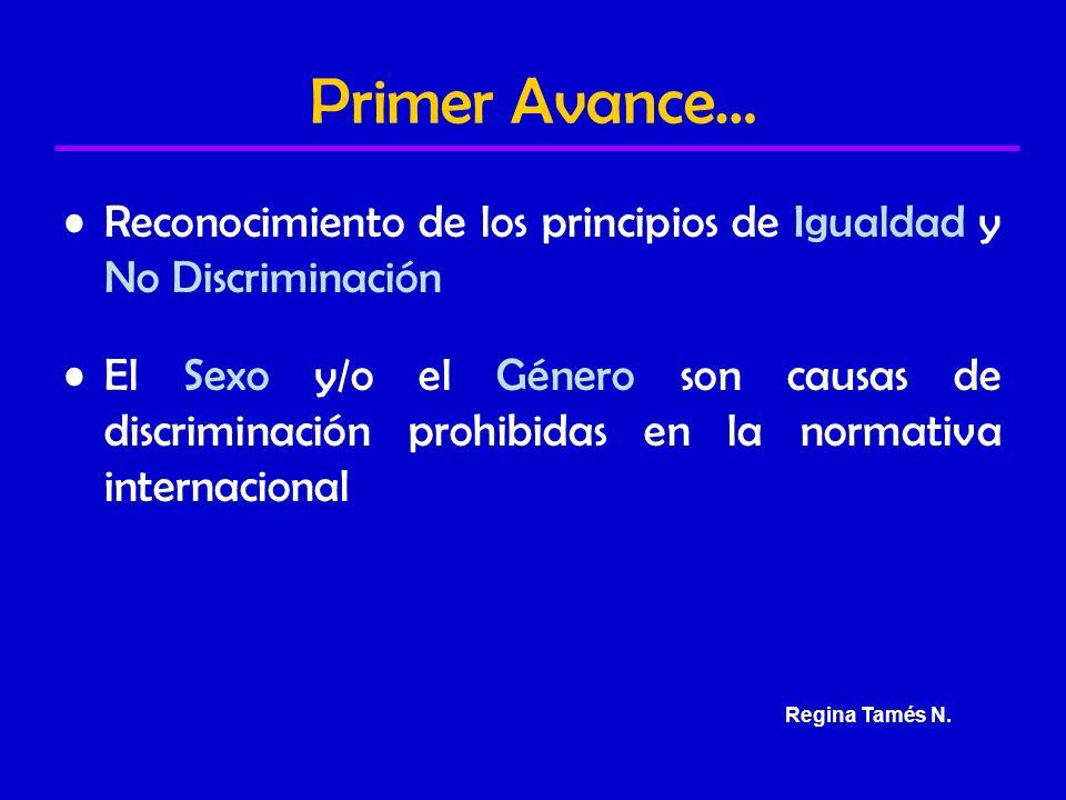 Primer Avance… Reconocimiento de los principios de Igualdad y No Discriminación El Sexo y/o el Género son causas de discriminación prohibidas en la normativa internacional Regina Tamés N.