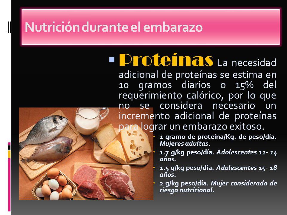 Proteínas La necesidad adicional de proteínas se estima en 10 gramos diarios o 15% del requerimiento calórico, por lo que no se considera necesario un