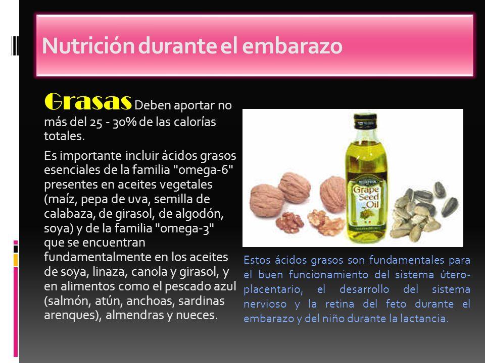 Grasas Deben aportar no más del 25 - 30% de las calorías totales. Es importante incluir ácidos grasos esenciales de la familia