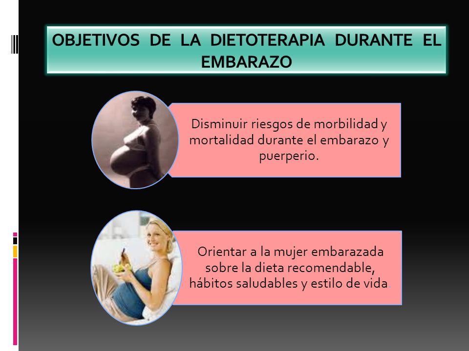 OBJETIVOS DE LA DIETOTERAPIA DURANTE EL EMBARAZO Disminuir riesgos de morbilidad y mortalidad durante el embarazo y puerperio. Orientar a la mujer emb