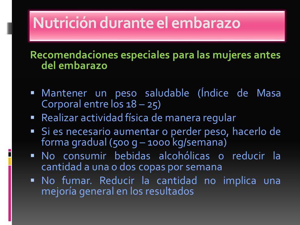Recomendaciones especiales para las mujeres antes del embarazo Mantener un peso saludable (Índice de Masa Corporal entre los 18 – 25) Realizar activid