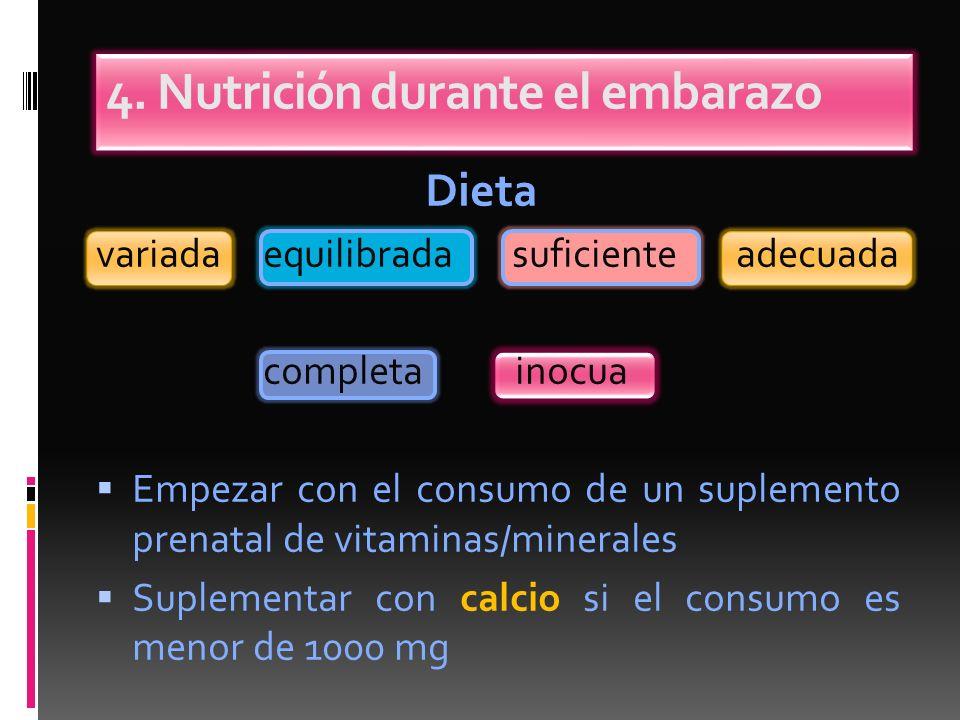 Dieta variada equilibrada suficiente adecuada completa inocua Empezar con el consumo de un suplemento prenatal de vitaminas/minerales Suplementar con