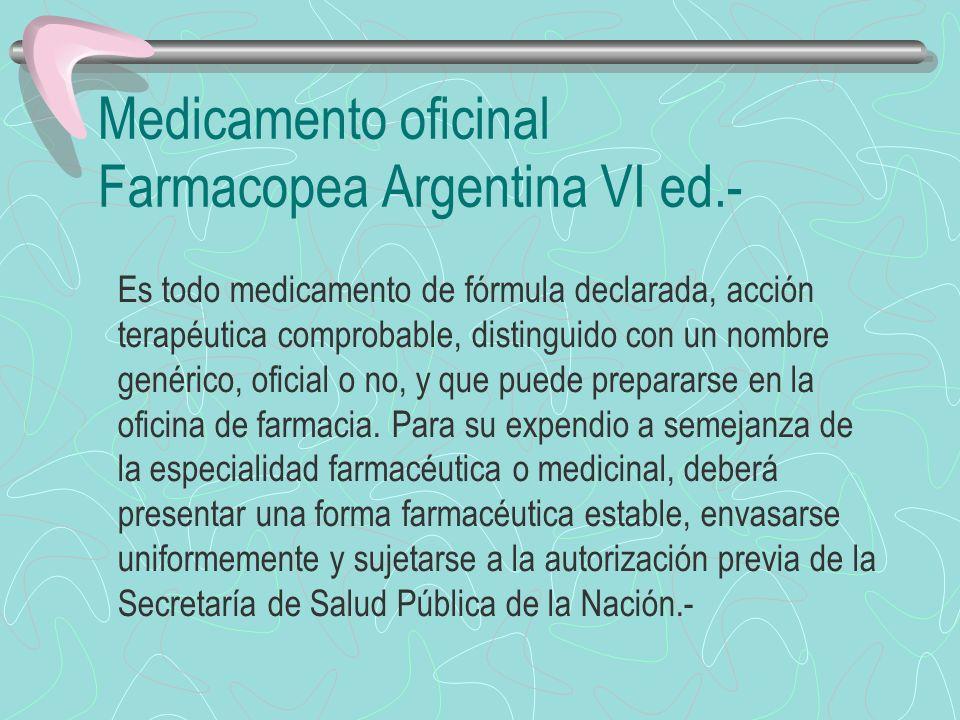 Droga o Medicamento Oficial Farmacopea Argentina VI ed.- Es toda droga o todo medicamento inscripto en Farmacopea-