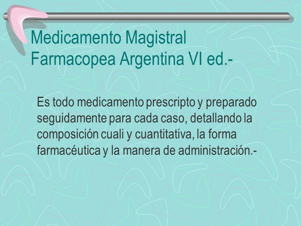 Medicamento oficinal Farmacopea Argentina VI ed.- Es todo medicamento de fórmula declarada, acción terapéutica comprobable, distinguido con un nombre genérico, oficial o no, y que puede prepararse en la oficina de farmacia.