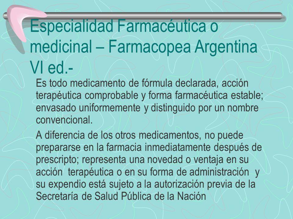 Medicamento Magistral Farmacopea Argentina VI ed.- Es todo medicamento prescripto y preparado seguidamente para cada caso, detallando la composición cuali y cuantitativa, la forma farmacéutica y la manera de administración.-
