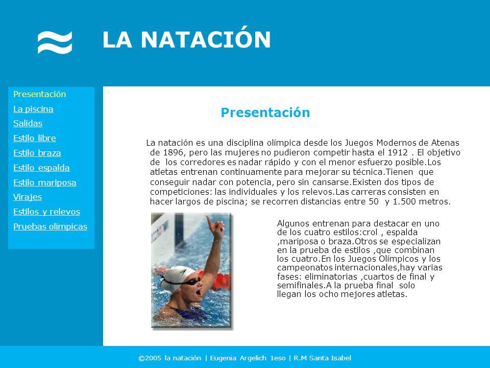 ©2005 la natación | Eugenia Argelich 1eso | R.M Santa Isabel LA NATACIÓN Presentación La piscina Salidas Estilo libre Estilo braza Estilo espalda Esti