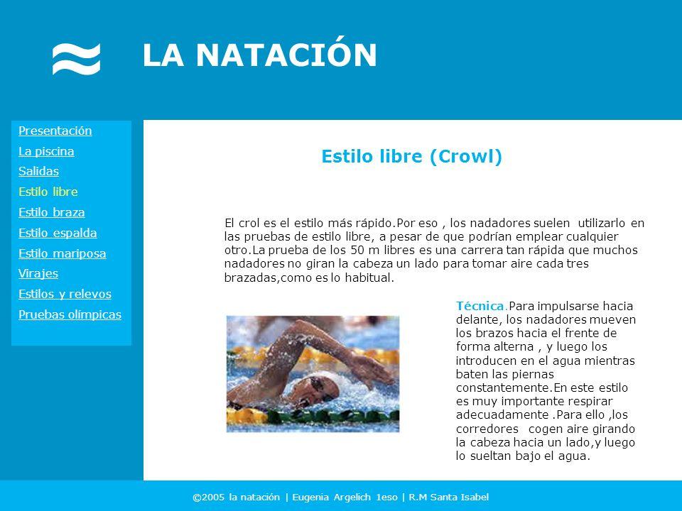 ©2005 la natación | Eugenia Argelich 1eso | R.M Santa Isabel LA NATACIÓN El crol es el estilo más rápido.Por eso, los nadadores suelen utilizarlo en l