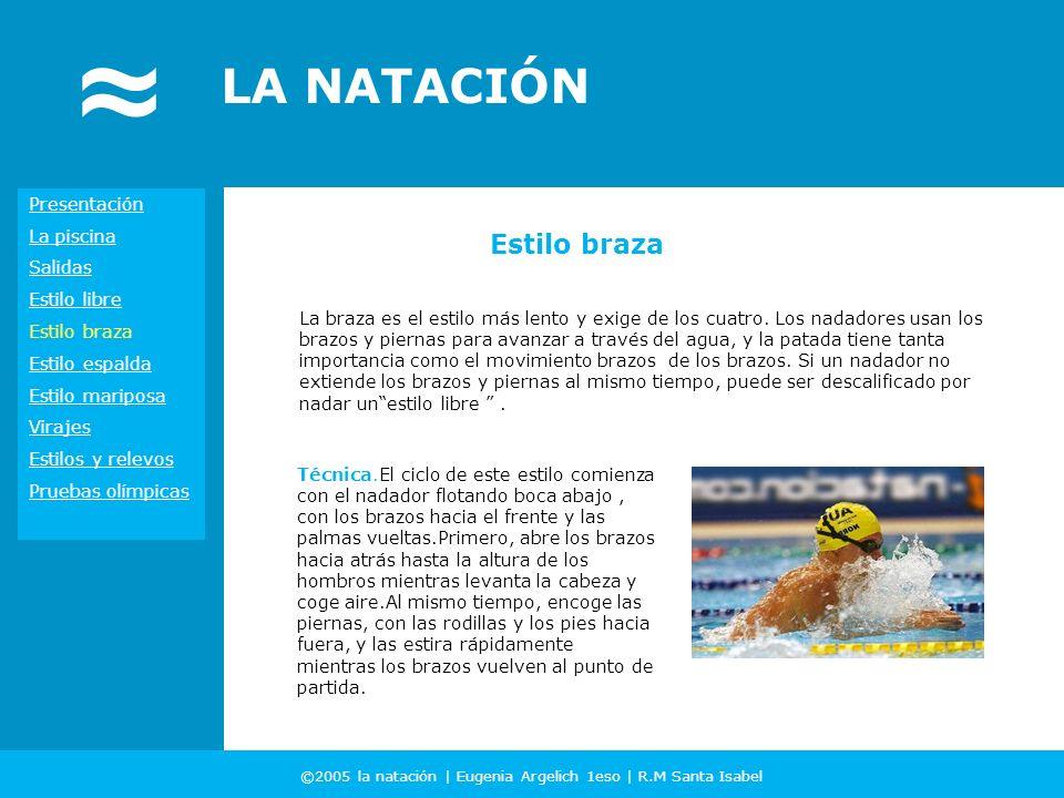 ©2005 la natación | Eugenia Argelich 1eso | R.M Santa Isabel LA NATACIÓN La braza es el estilo más lento y exige de los cuatro. Los nadadores usan los
