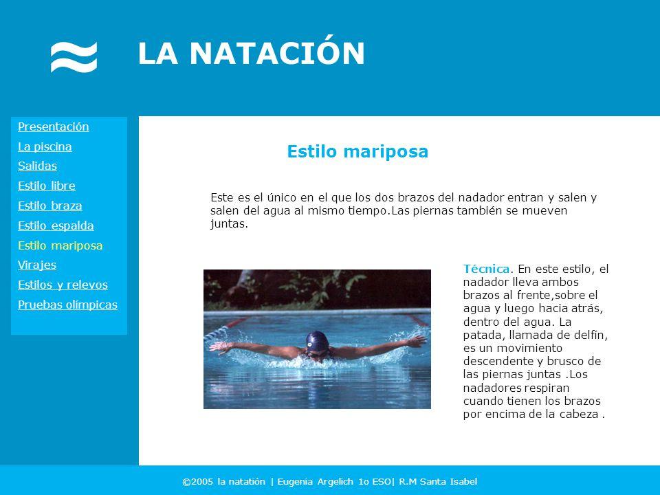 ©2005 la natatión | Eugenia Argelich 1o ESO| R.M Santa Isabel LA NATACIÓN Presentación La piscina Salidas Estilo libre Estilo braza Estilo espalda Est