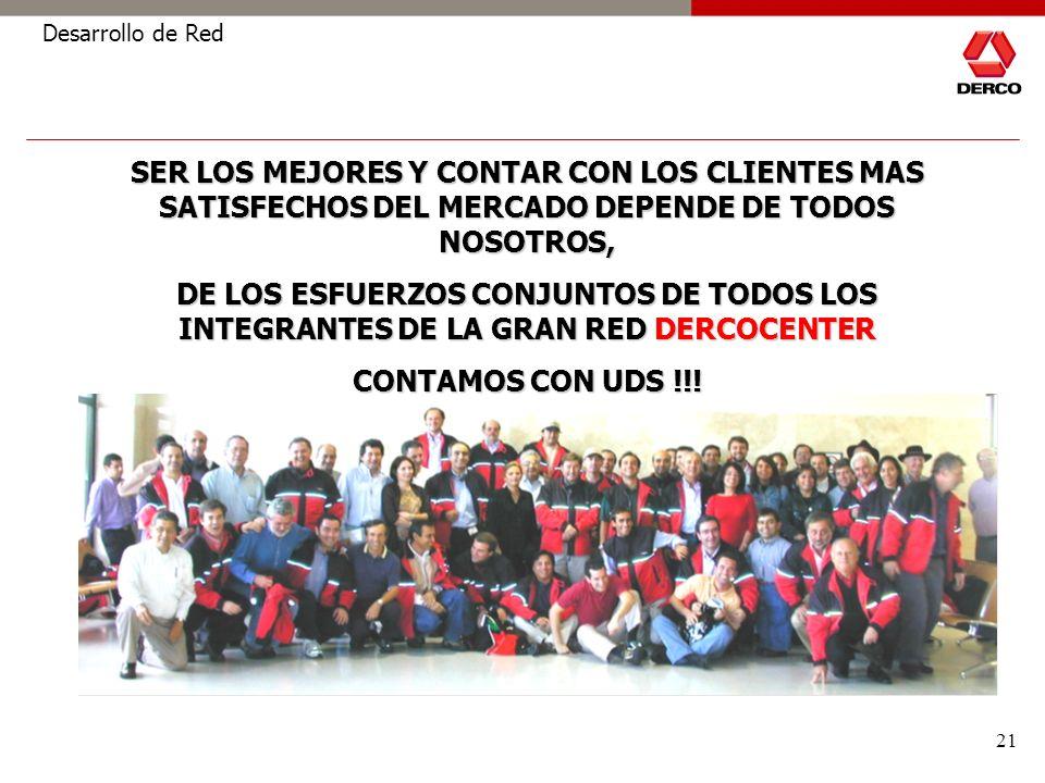 21 Desarrollo de Red SER LOS MEJORES Y CONTAR CON LOS CLIENTES MAS SATISFECHOS DEL MERCADO DEPENDE DE TODOS NOSOTROS, DE LOS ESFUERZOS CONJUNTOS DE TODOS LOS INTEGRANTES DE LA GRAN RED DERCOCENTER CONTAMOS CON UDS !!!