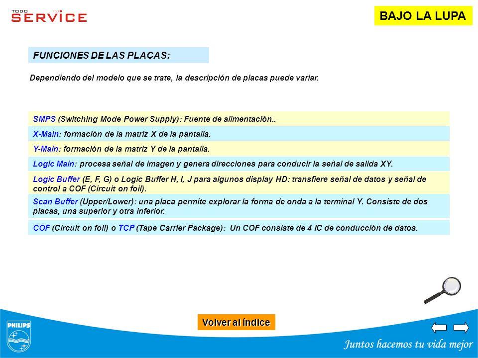 Volver al índice Volver al índice BAJO LA LUPA FUNCIONES DE LAS PLACAS: X-Main: formación de la matriz X de la pantalla. Y-Main: formación de la matri