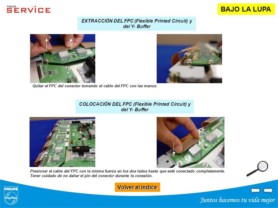 Volver al índice Volver al índice BAJO LA LUPA EXTRACCIÓN DEL FPC (Flexible Printed Circuit) y del Y- Buffer COLOCACIÓN DEL FPC (Flexible Printed Circ