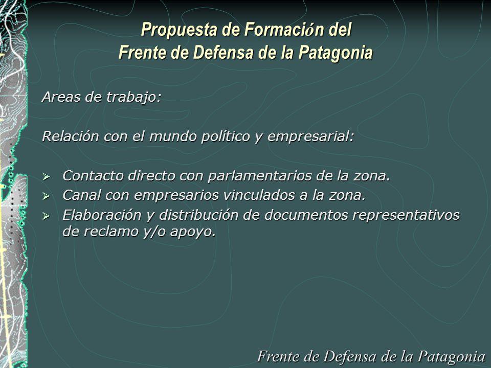 Propuesta de Formaci ó n del Frente de Defensa de la Patagonia Areas de trabajo: Relación con el mundo político y empresarial: Contacto directo con parlamentarios de la zona.