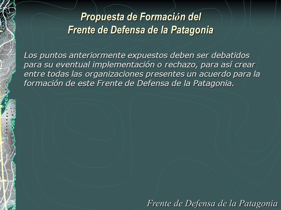 Propuesta de Formaci ó n del Frente de Defensa de la Patagonia Los puntos anteriormente expuestos deben ser debatidos para su eventual implementación o rechazo, para así crear entre todas las organizaciones presentes un acuerdo para la formación de este Frente de Defensa de la Patagonia.