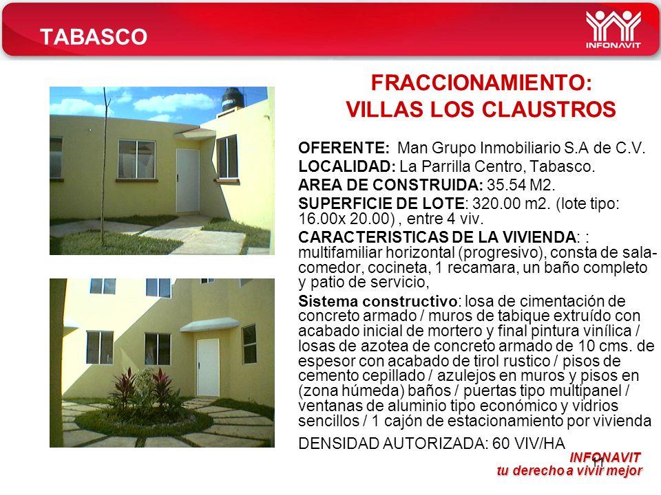 INFONAVIT tu derecho a vivir mejor tu derecho a vivir mejor 11 TABASCO OFERENTE: Man Grupo Inmobiliario S.A de C.V.