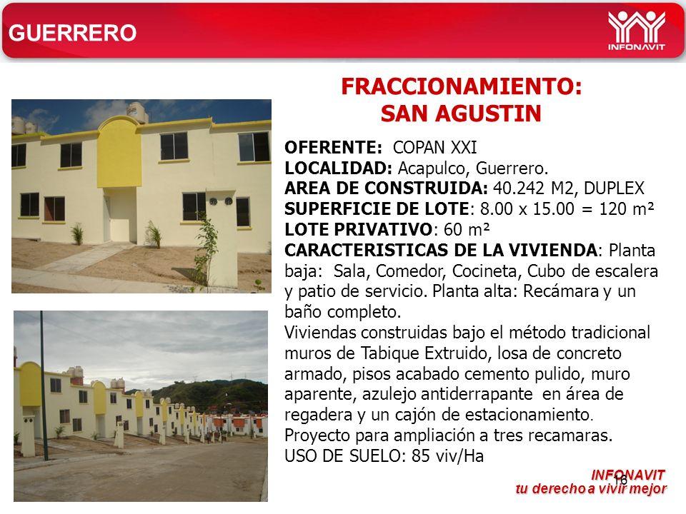 INFONAVIT tu derecho a vivir mejor tu derecho a vivir mejor 16 GUERRERO OFERENTE: COPAN XXI LOCALIDAD: Acapulco, Guerrero.