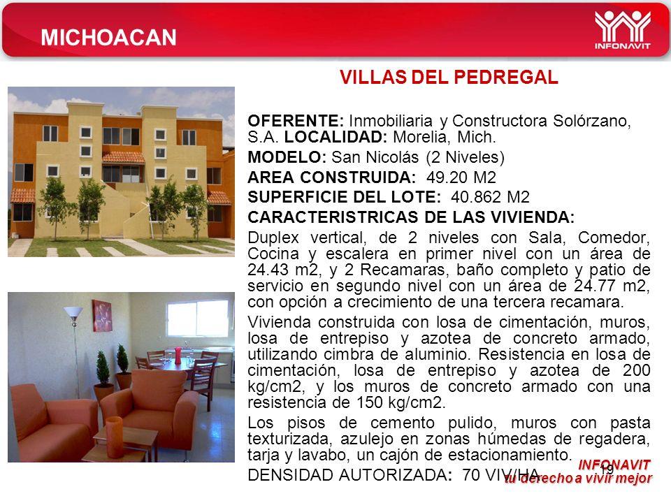 INFONAVIT tu derecho a vivir mejor tu derecho a vivir mejor 19 VILLAS DEL PEDREGAL OFERENTE: Inmobiliaria y Constructora Solórzano, S.A.