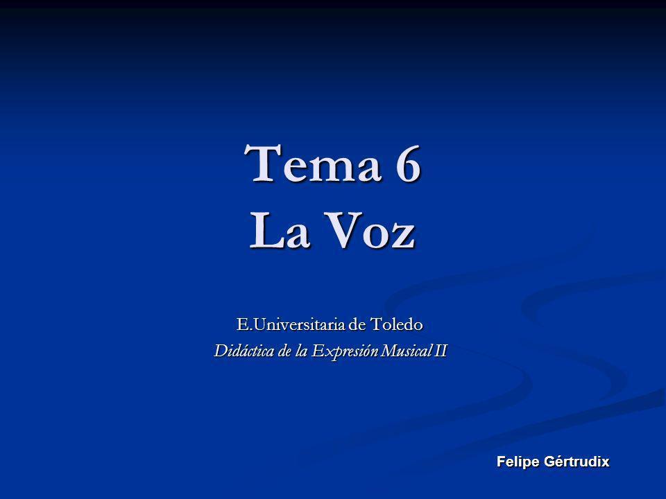 Tema 6 La Voz E.Universitaria de Toledo Didáctica de la Expresión Musical II Felipe Gértrudix
