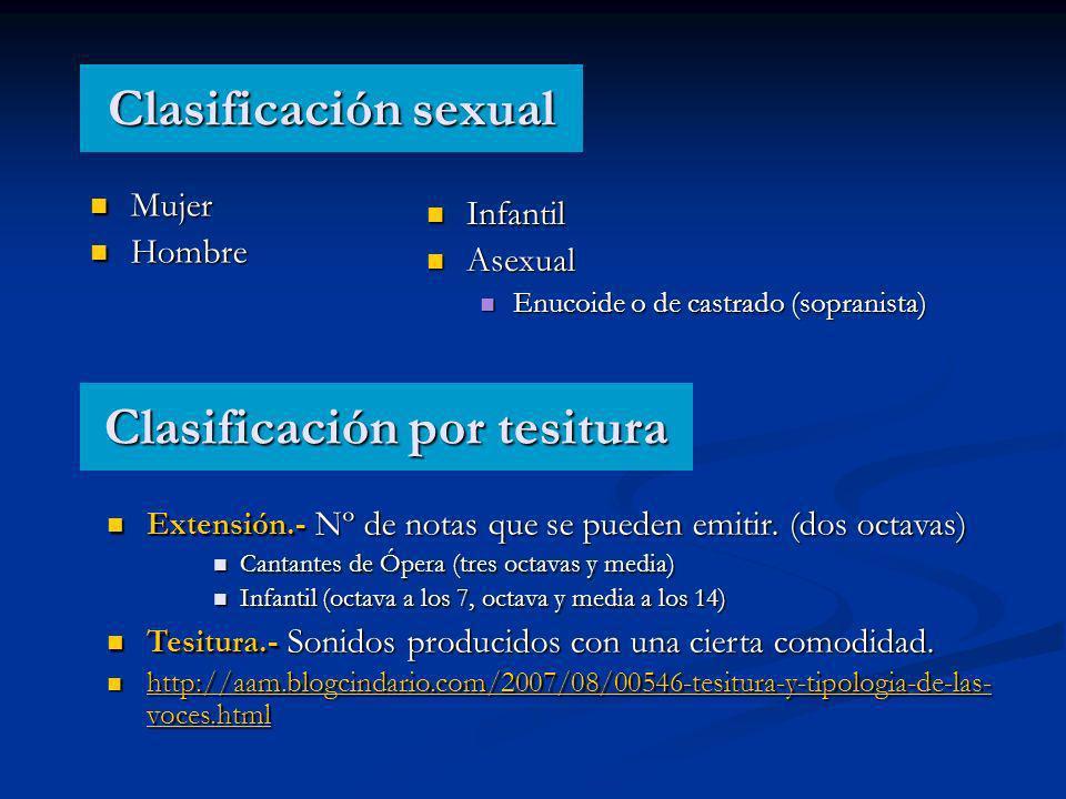 Clasificación sexual Mujer Mujer Hombre Hombre Infantil Infantil Asexual Asexual Enucoide o de castrado (sopranista) Enucoide o de castrado (sopranista) Clasificación por tesitura Extensión.- Nº de notas que se pueden emitir.