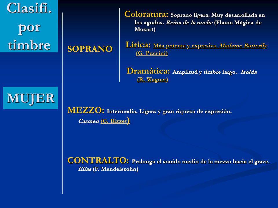 SOPRANO MUJER Coloratura: Soprano ligera.Muy desarrollada en los agudos.