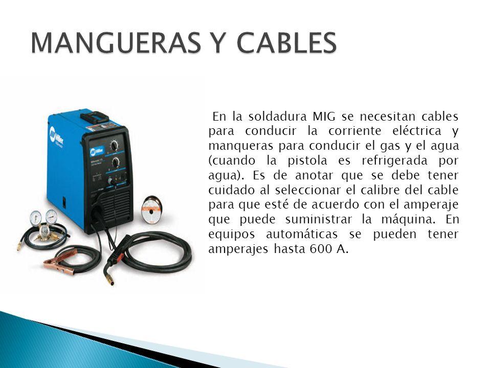 En la soldadura MIG se necesitan cables para conducir la corriente eléctrica y manqueras para conducir el gas y el agua (cuando la pistola es refriger