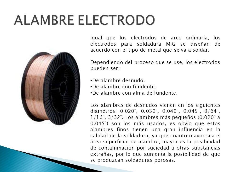 Igual que los electrodos de arco ordinaria, los electrodos para soldadura MIG se diseñan de acuerdo con el tipo de metal que se va a soldar. Dependien