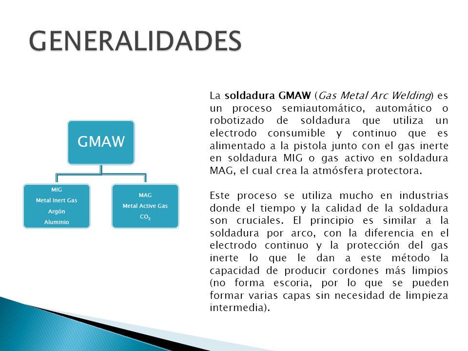 La soldadura GMAW (Gas Metal Arc Welding) es un proceso semiautomático, automático o robotizado de soldadura que utiliza un electrodo consumible y con