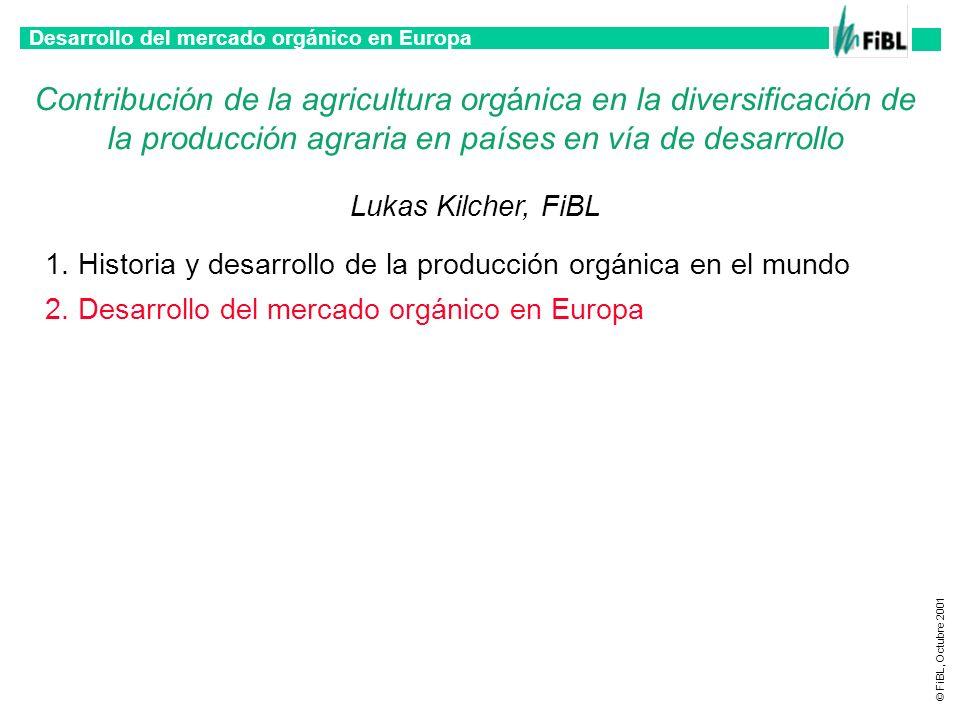 Desarrollo del mercado orgánico en Europa © FiBL, Octubre 2001 Factores que influyen el crecimiento Mercado de alimentos orgánicos en Europa Aumento de interés de los consumidores en productos orgánicos Politicas de gobierno orientadas a la promoción de la producción y el consumo orgánico Productores e industriales son concientes a las oportunidades Detallistos importantes promoviendo alimentos orgánicos agresivamente
